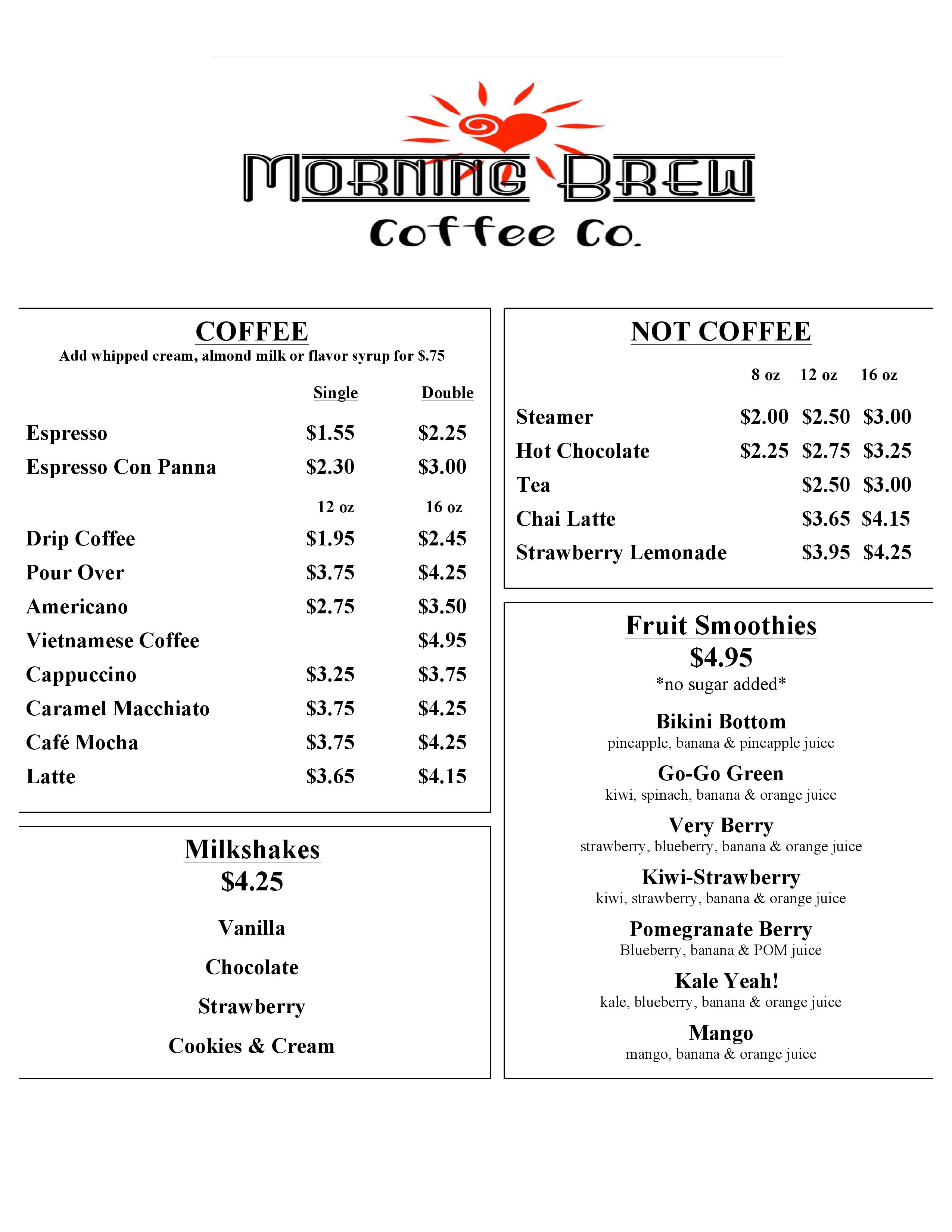 Morning Brew Menu Page1